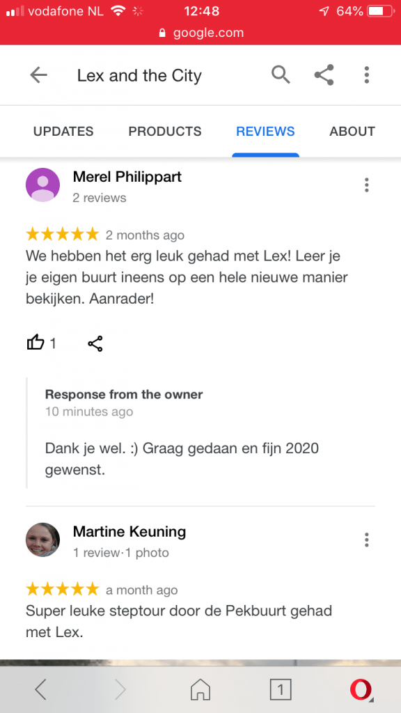 Reviews over Lex and the City 4e kwartaal 2020 op Google bedrijfspagina
