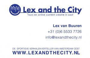 Lex van Buuren from Lex and the City - Storyteller Amsterdam East - business card