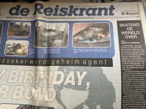 Interview met Lex van Buuren van Skate-A-Round op de voorpagina bovenaan in de Reiskrant van de Telegraaf.
