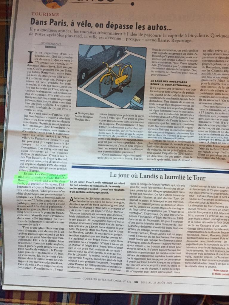 Publicité gratuite dans le Courrier International pour Skate-A-Round et Lex and the City - Lex van Buuren
