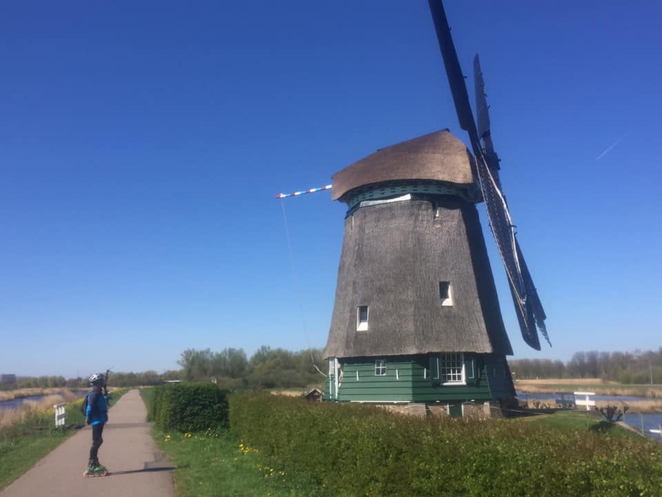 The Mill of 't Twiske recreational area with great bike road heading for The Zaanse Schans.