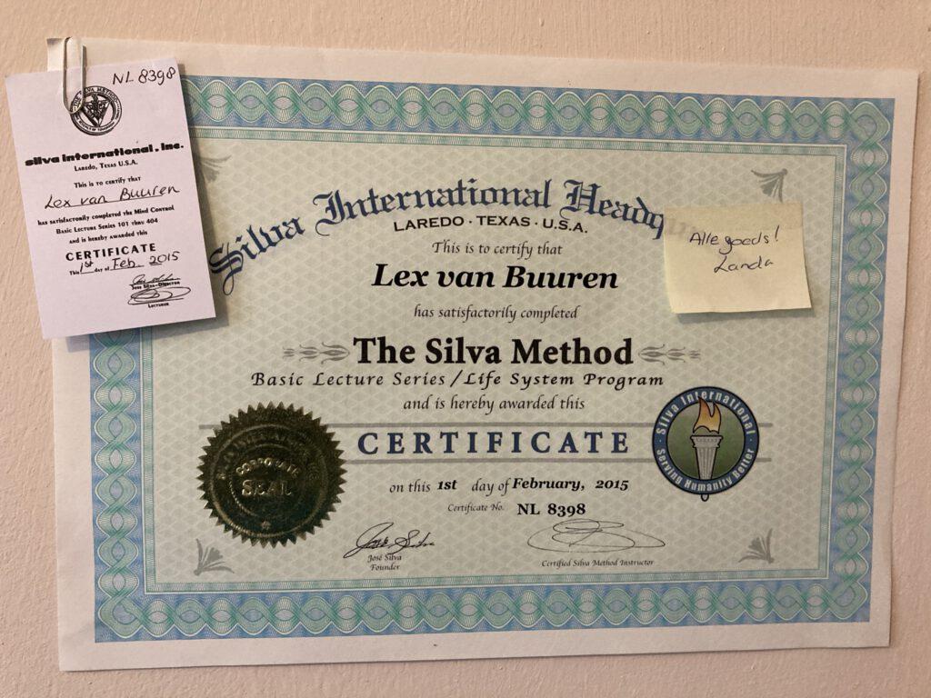 Het certificaat van de Silva methode voor Lex van Buuren - Uitgereikt door Landa Endlich van Silva-Nederland