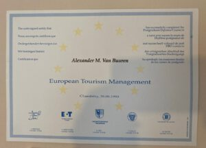 Diploma for European Tourism Management acquired by Lex van Buuren - at the Bournemouth University and l'Université de Savoie - in 1993