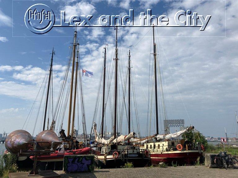 Lex and the City Lexperience in Amsterdam: uitzicht op zeilboten vanaf de fiets op de NDSM-werf